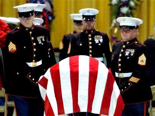 Memorial day USMC flag coffin